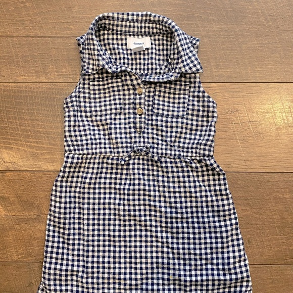 Old Navy Blue And White Sleeveless Checkered Dress